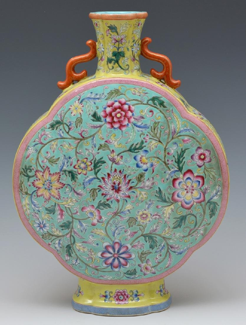 """Chinese famille rose enameled moon flask, 14 1/2"""" t"""
