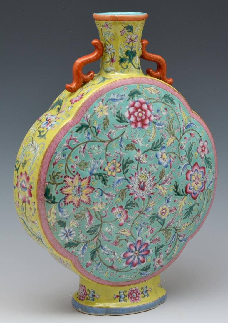"""Chinese famille rose enameled moon flask, 14 1/2"""" t - 2"""
