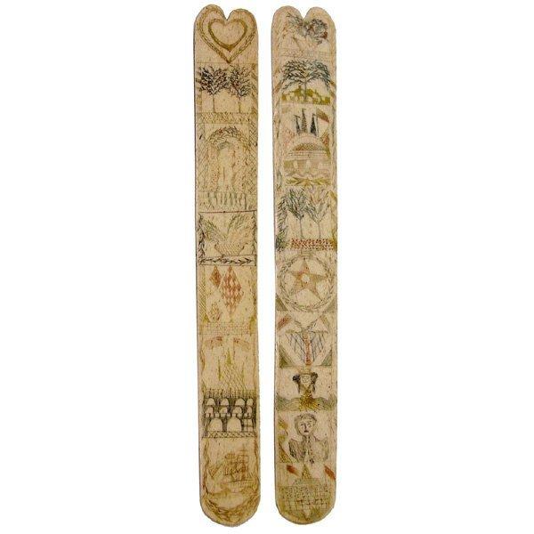 5: Scrimshaw Busk Decorated On Both Sides, 17 Panels, 1
