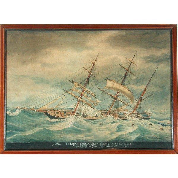 """7: Louis Francois Roux Ship Painting, """"La Louise,"""