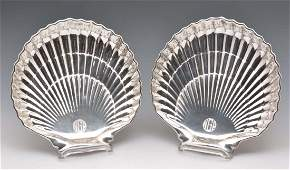 Gorham Sterling Silver Shell Shaped Canape Trays,
