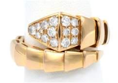 "18k rose gold & diamond, iconic Bulgari ""Serpenti"" ring"