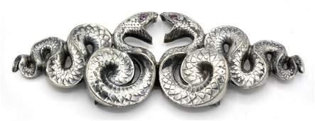 Sterling Art Nouveau style Kerr snake belt buckle