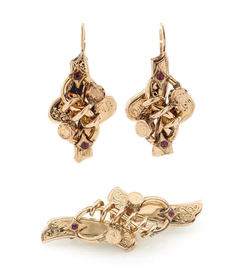 Lot: 14k gold ruby Victorian earrings & matching brooch