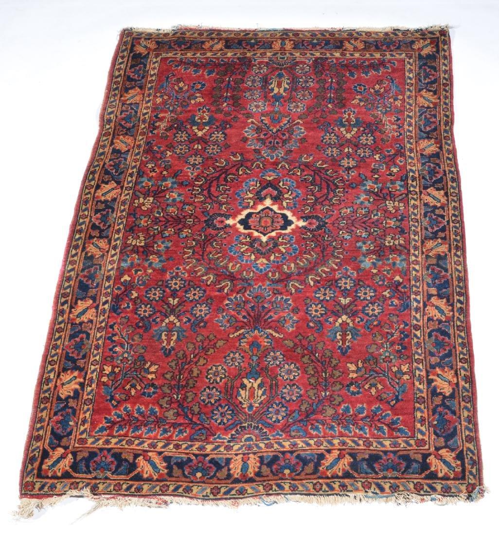 "Sarouk scatter rug, 5' x 3'5""."