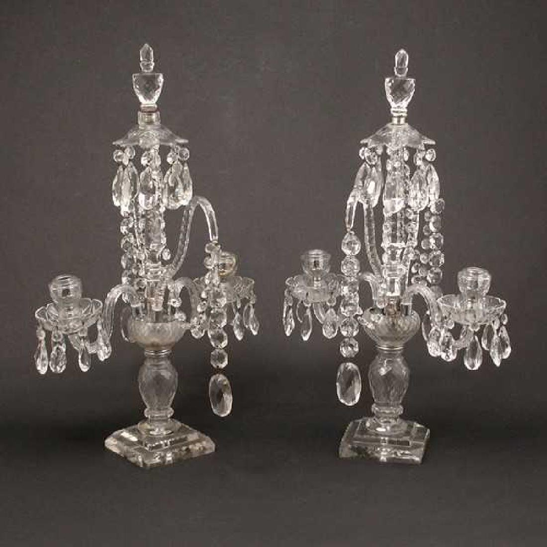 Pair of English George III Cut Glass Candelabra