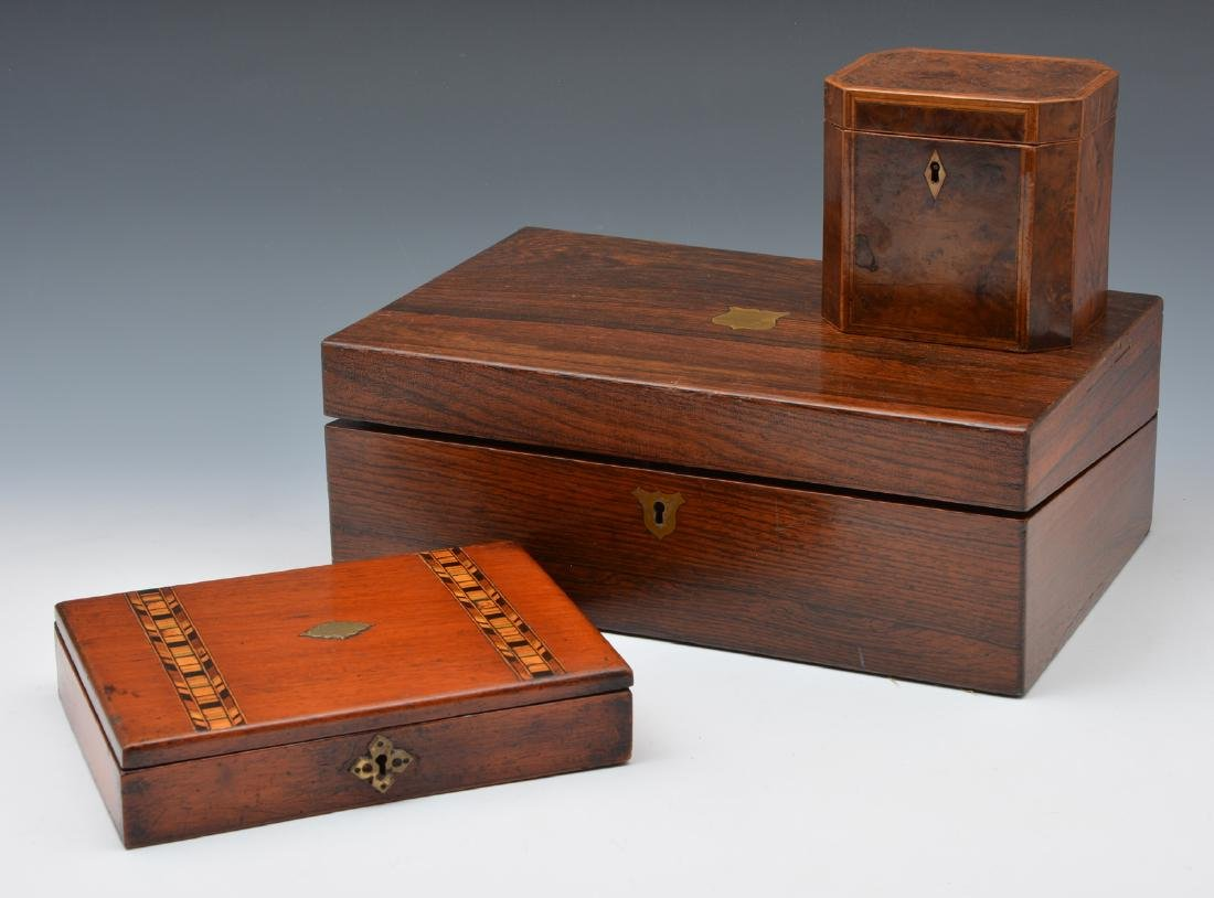 Grouping of 3 English work boxes.