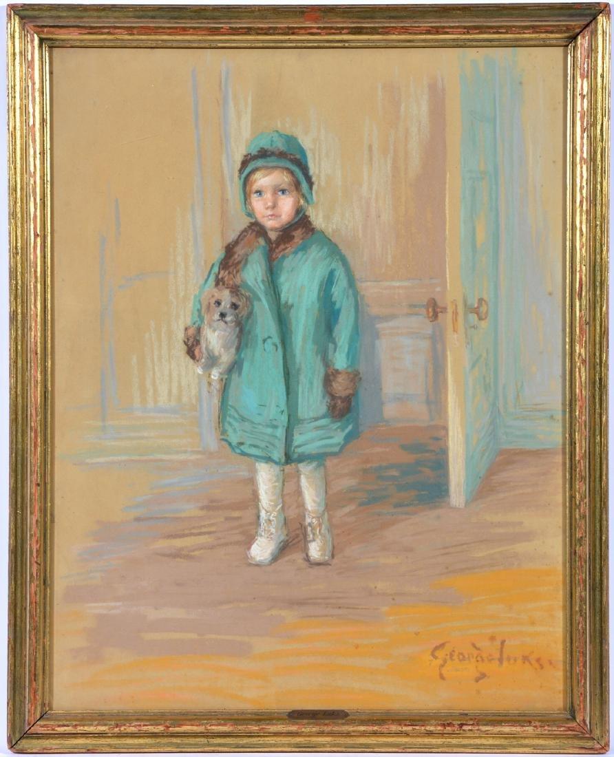 George Luks (Am, 1867-1933), Child in Blue, Pastel
