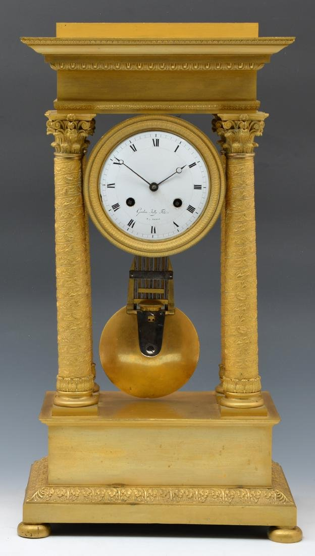 Gaston Jolly French Empire Portico Clock, 19th c.