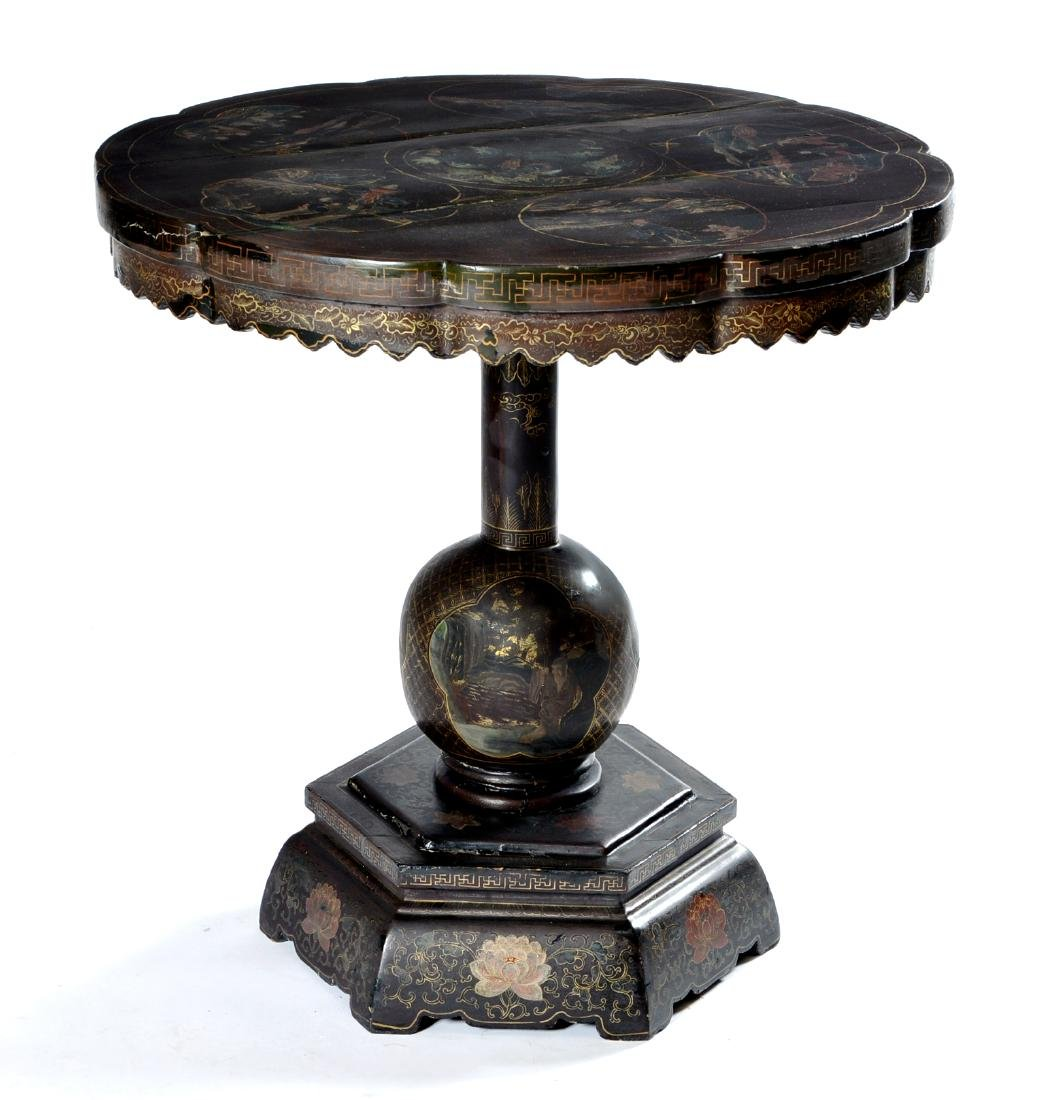Chinese black lacquer chinoiserie table
