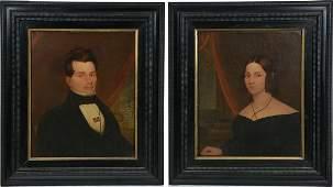 Pair of American School Portraits, 19th c, Ship Captain