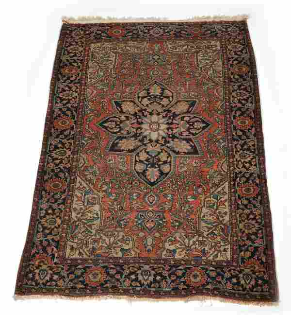 """Persian scatter rug, 61"""" x 39 1/2""""."""
