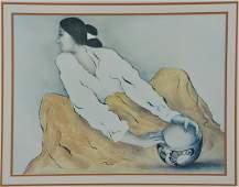 R.C. Gorman print, Woman with Bowl