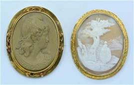Lot: 14k Yellow gold shell and lava cameo