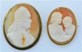 Lot: Brooch/pendant shell cameos includes 14k, 18k