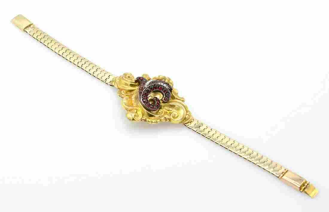 14k Victorian garnet & pearl bracelet