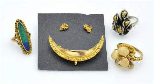 Lot: Five pieces of natural gold nugget