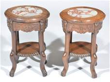 Pair of Chinese Carved Wooden Stands, inset marble