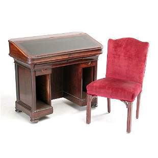 19th C rosewood desk and chair