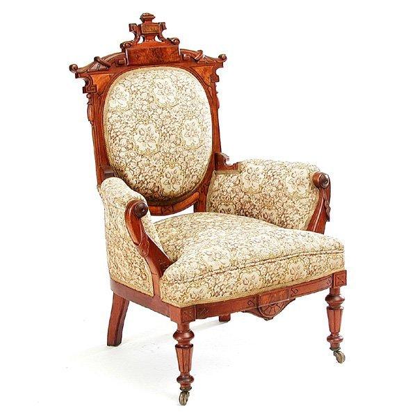 12: 19th. C American Eastlake Walnut Parlour Chair