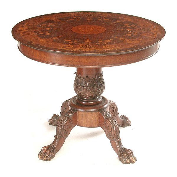 23: Fancy Transitional Inlaid Table with Claw Feet, 19t