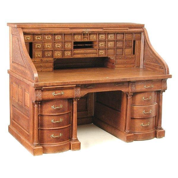 30: Magnificent 19th. C Oversized Oak Roll Top Desk