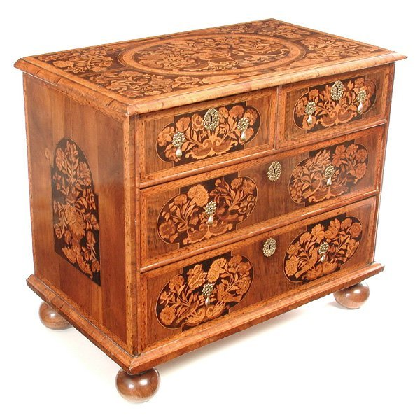 309: William & Mary Marquetry Chest Of Drawers, 17th. C