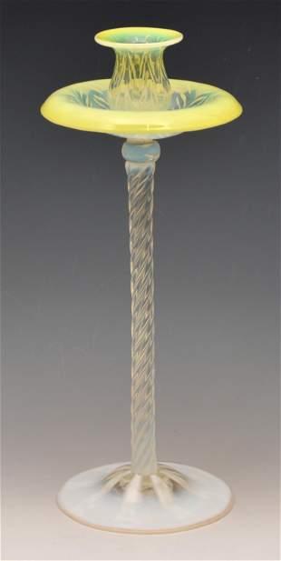 "Tiffany Pastel Favrile Fern Pattern Candlestick, 12"""