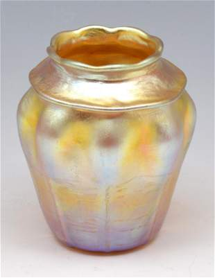 Tiffany Iridescent Gold Favrile Art Glass Vase.