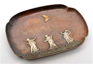 Gorham Mixed Metal Silver, Brass & Copper Tray