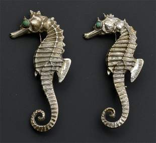Mexican Silver Seahorse Pins (2) with cabochon eyes.