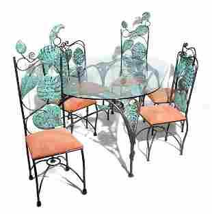 Emilia Castillo 7-piece patinated metal dining set