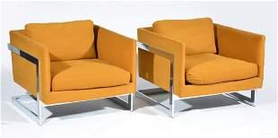 Pair of Rare Variant Milo Baughman Lounge chairs
