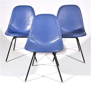 Herman Miller Side Chairs (3) in blue vinyl