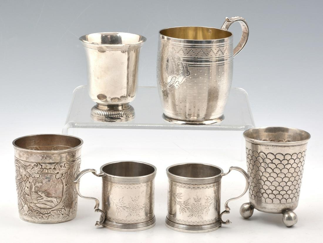 """6 Early Continental Silver Cups. Tallest: 3 3/4""""."""