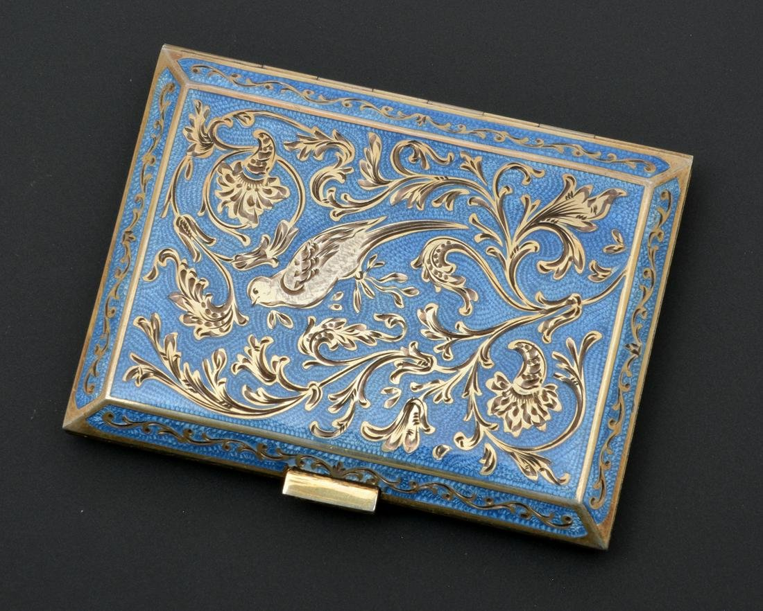 Austrian Enamel & Silver (835) Cigarette or Card Case.