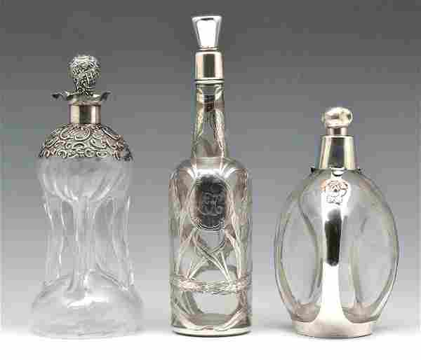 3 Sterling Silver Overlay Crystal Decanters.