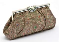 Tiffany  Co Art Deco sterling embroidered silk purse
