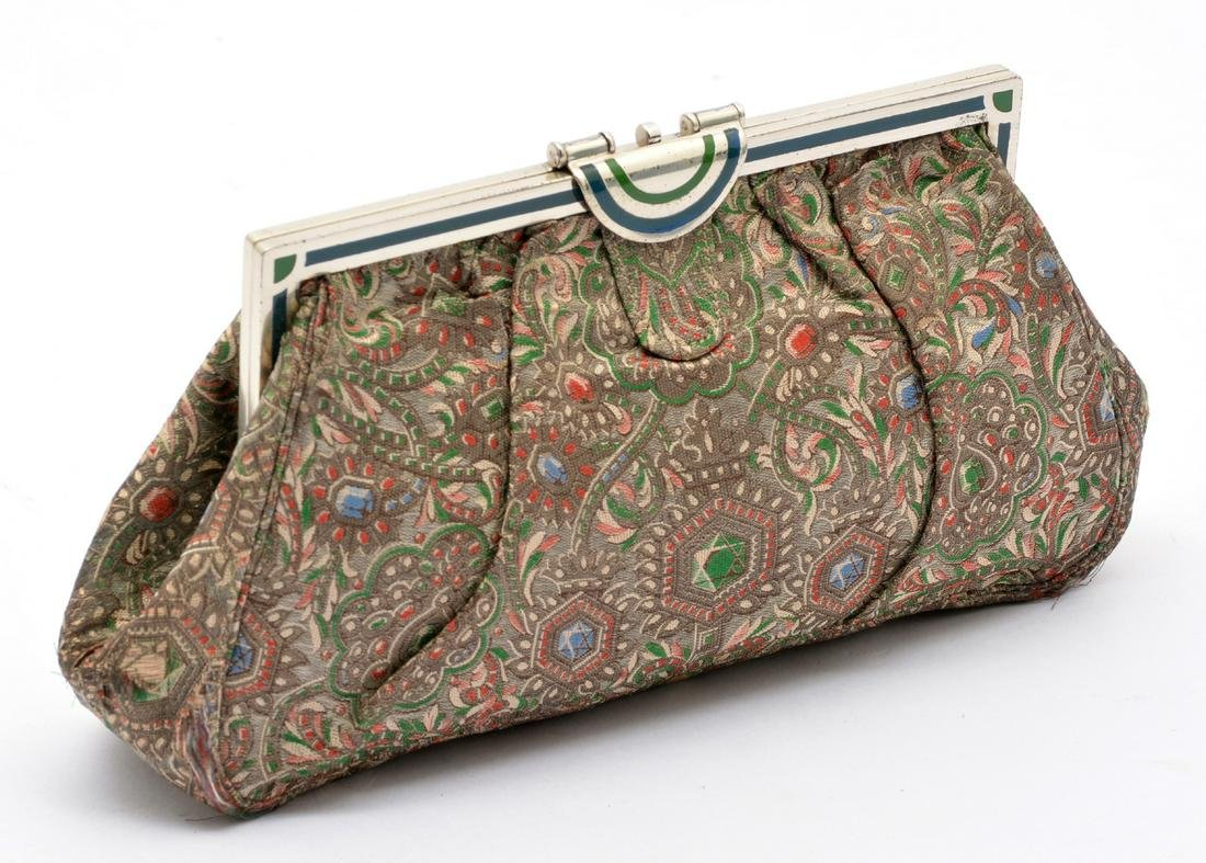 Tiffany & Co. Art Deco sterling, embroidered silk purse