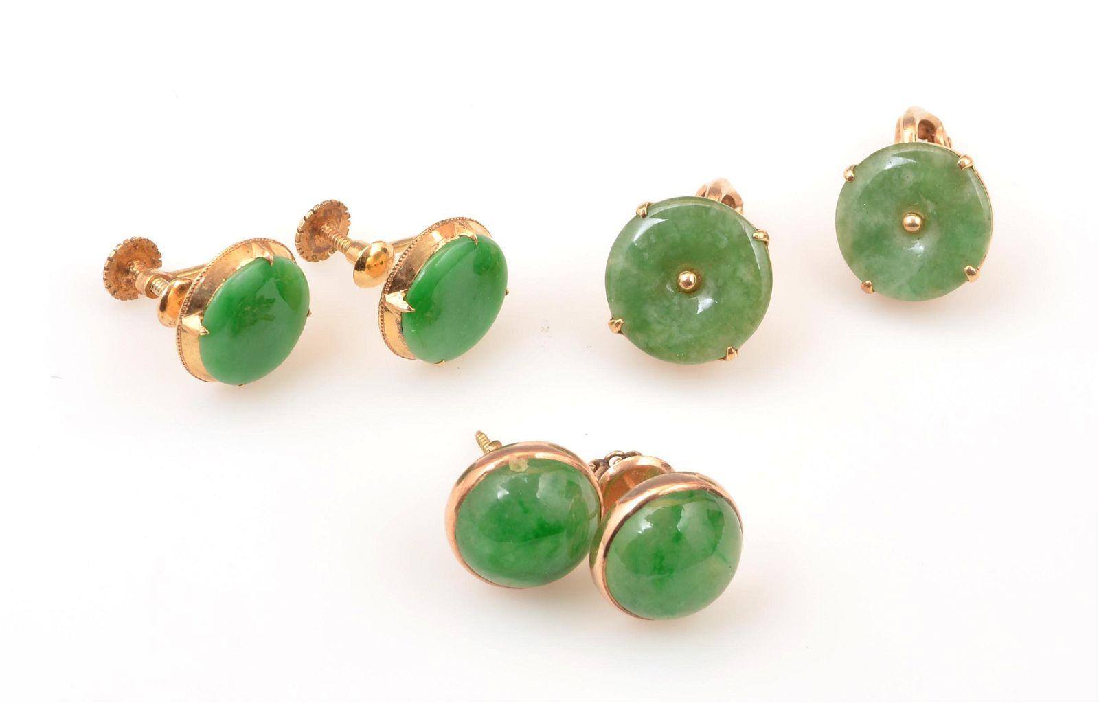 Lot of 14k yellow gold & jade earrings