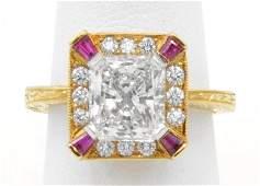 "Stunning 2.43 radiant-cut ""David Clay"" diamond ring"