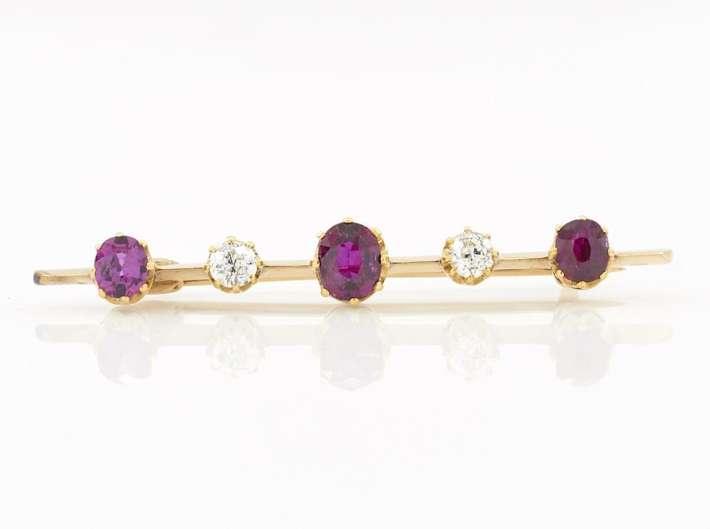 14k Yellow gold ruby & diamond bar pin
