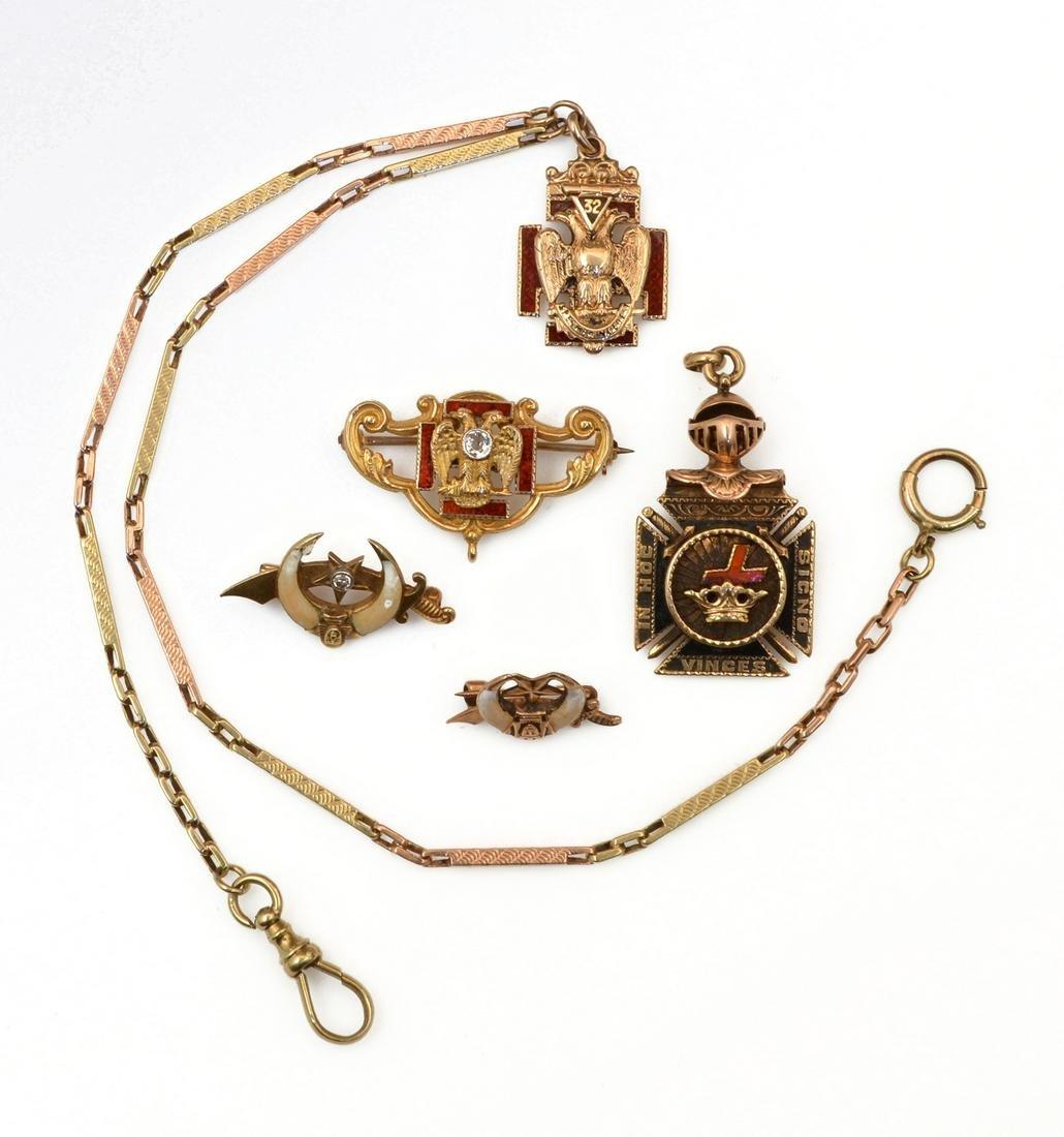 14k yellow gold, lot of Masonic & Order Pins