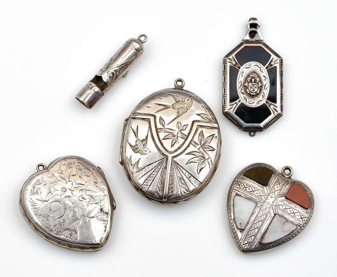 Lot of four Scottish pendants & a whistle