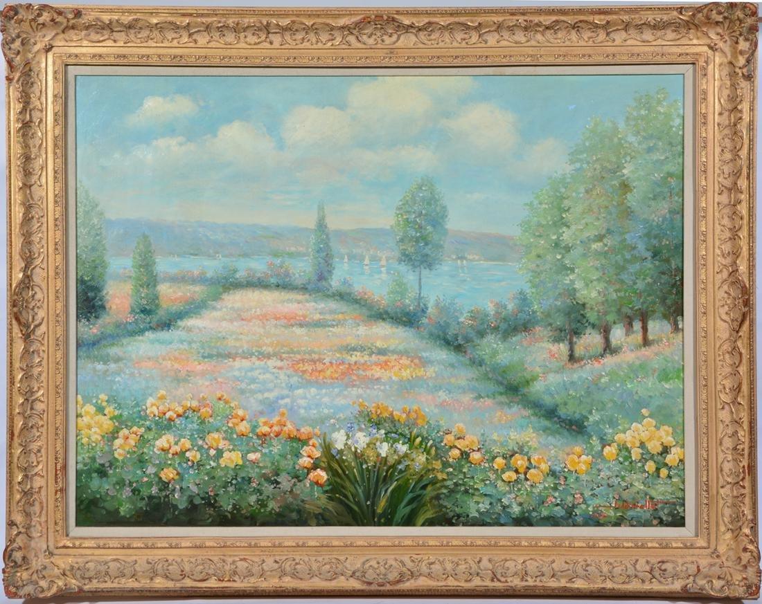 Judd Gallet Painting, Floral Garden, Mark Hopkins Hotel