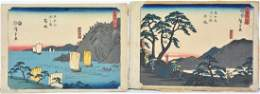 Hiroshige, Color woodcuts (2). Sailboats and Figures
