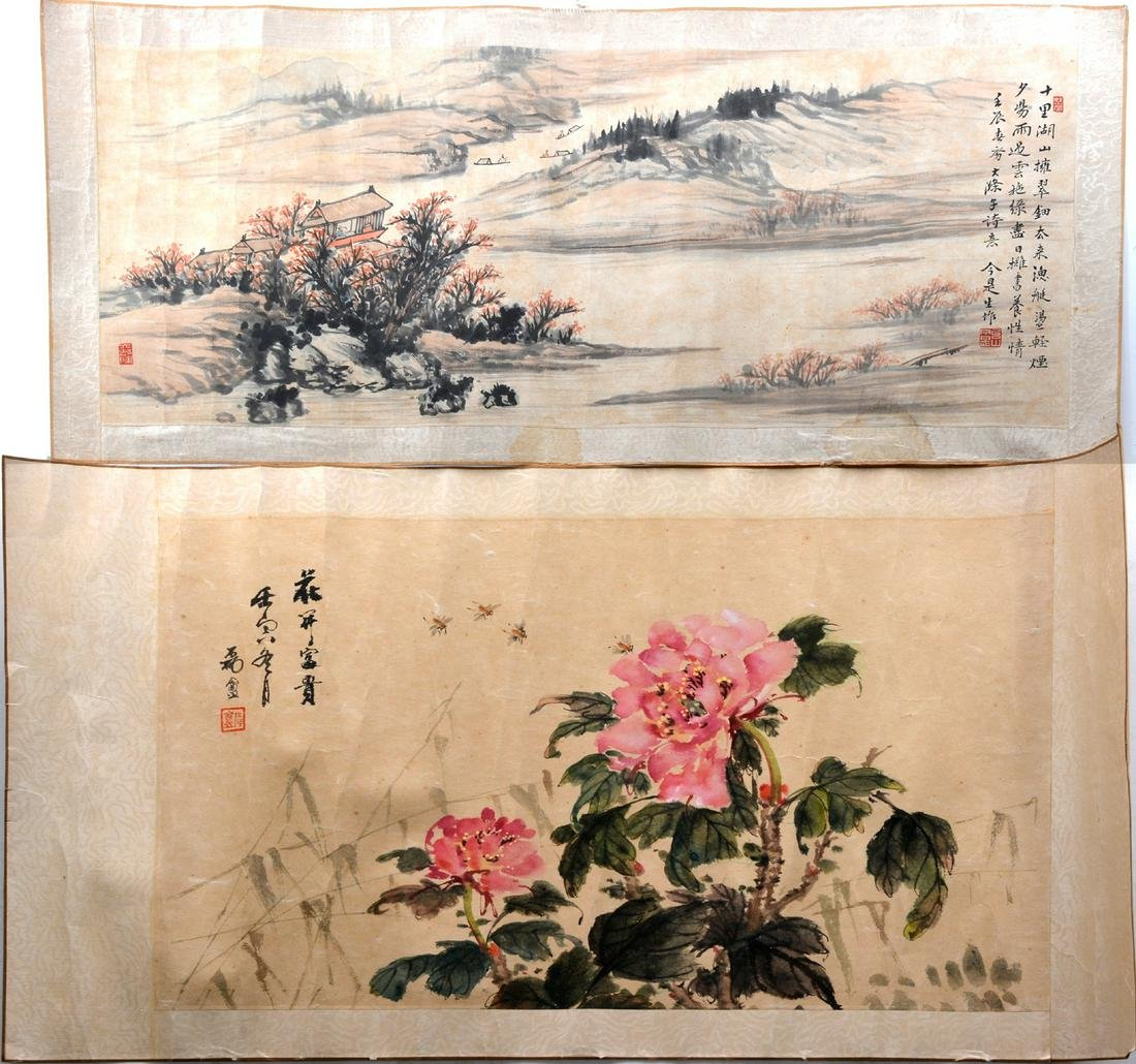 2 Chinese Scroll Paintings, landscape & flowers,