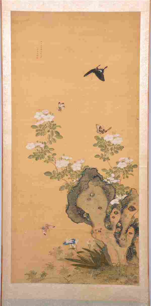 Chinese Scroll Painting, signed, butterflies