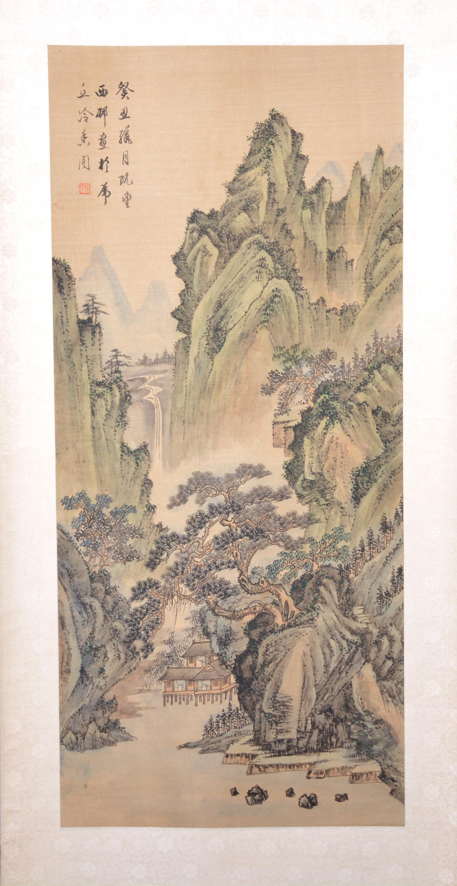 Chinese Scroll, Mountain Landscape with house