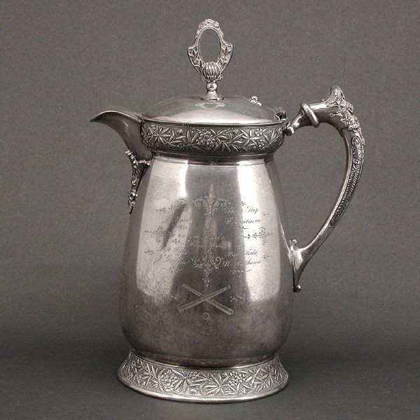 1: Aesthetic Silver Plate Baseball Trophy, 19th. C